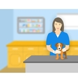 Woman veterinarian holding a dog in veterinary vector image vector image