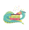 Cute dragon with stack of books vector image