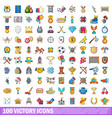 100 victory icons set cartoon style vector image vector image