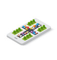 3d map isometric city mobile phone on the vector image vector image