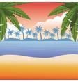 beach and sea scene vector image