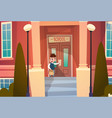 boy opening school door pupil go to classroom in vector image vector image