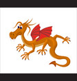 cartoon cute dragon with red wings and big taloons vector image vector image