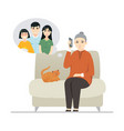 chinese grandmother talking on phone - flat vector image vector image