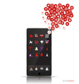 Christmas background Touchscreen device with cloud vector image vector image