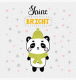 christmas card with cute little panda funny vector image vector image