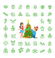 christmas tree decoration and isolated icons set vector image vector image