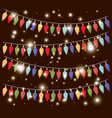 colors christmas lights hanging decoration vector image vector image