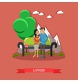 Couple sitting on bench with mountain background vector image vector image