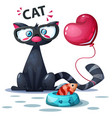 cute cat with fish and air balloon vector image