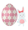 cute rabbit with easter egg painted vector image vector image