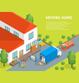 delivery moving card poster concept 3d isometric vector image vector image