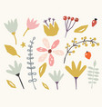 floral paper cut shapes on white background cute vector image