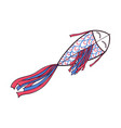 flying fish shaped doodle kite with ribbon tail vector image