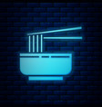 glowing neon asian noodles in bowl and chopsticks vector image vector image