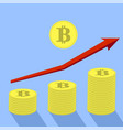 gold bitcoin icon and red arrow vector image vector image