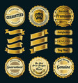 golden badges and ribbons vector image vector image