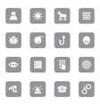 gray flat icon set 7 on rounded rectangle vector image vector image