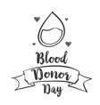 hand draw world blood donor day vector image vector image