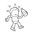 hand-drawn cartoon of drunk man walking holding vector image vector image