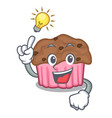 have an idea chocolate muffins on a mascot plate vector image