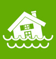 house sinking in a water icon green vector image vector image