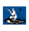 hunter aiming shotgun rifle at duck vector image