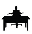 man silhouette sitting on chair with desk vector image vector image