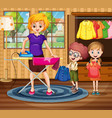 mother ironing cloth for children vector image