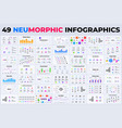 neumorphic infographics collection vector image