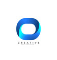 o letter logo design with 3d and ribbon effect vector image vector image