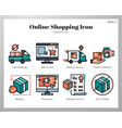 online shopping icons linecolor pack vector image vector image