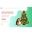 penguin with socks near christmas tree web vector image