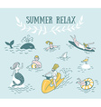 People Actively Relax Swim in the Sea Summer Sea vector image vector image