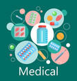 pharmacy banner of medicine and health symbols vector image vector image