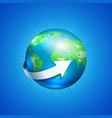 planet earth with white arrow vector image vector image