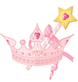 Princess crown and magic wand vector image vector image