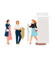 queue to fitting room vector image