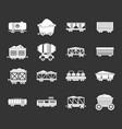 railway carriage icon set grey vector image vector image