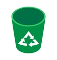 Recycle bin icon isometric 3d style vector image vector image