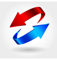 Red and blue arrows are moving towards Arrows sign vector image vector image