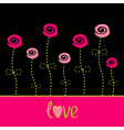 Roses with dash line stalks love card Black pink vector image vector image