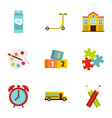 school time icons set flat style vector image vector image