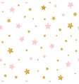 seamless pattern decoreted gold pink stars vector image vector image