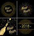 set of happy new year 2018 greeting card vector image vector image