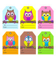 set tags with funny owls vector image vector image