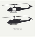 silhouette line flat icon set military vector image
