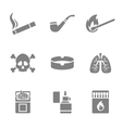 Smoking silhouette icons set 9 elements vector image vector image