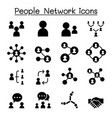 social network people network icon set in thin vector image vector image