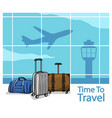 suitcase on airport vector image
